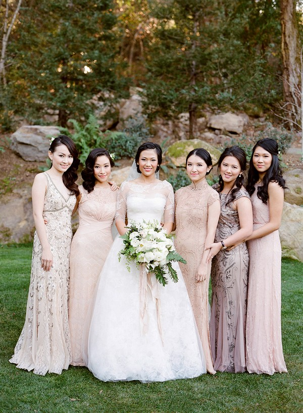 shades of pink mismatched bridesmaid dresses