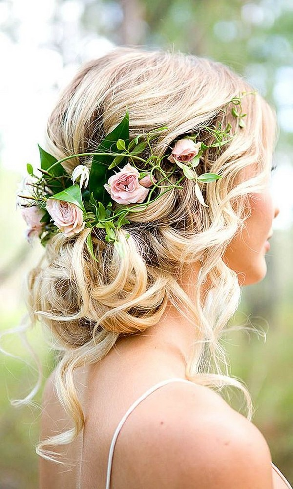 updo boho wedding hairstyle with floral