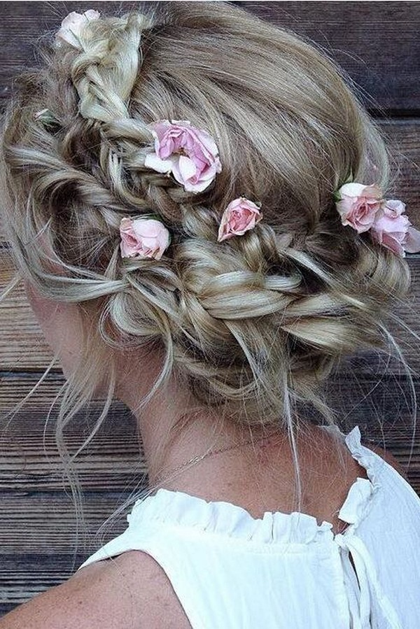 updo wedding hairstyle with flowers