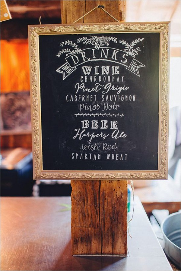 vintage chalkboard wedding drink station sign