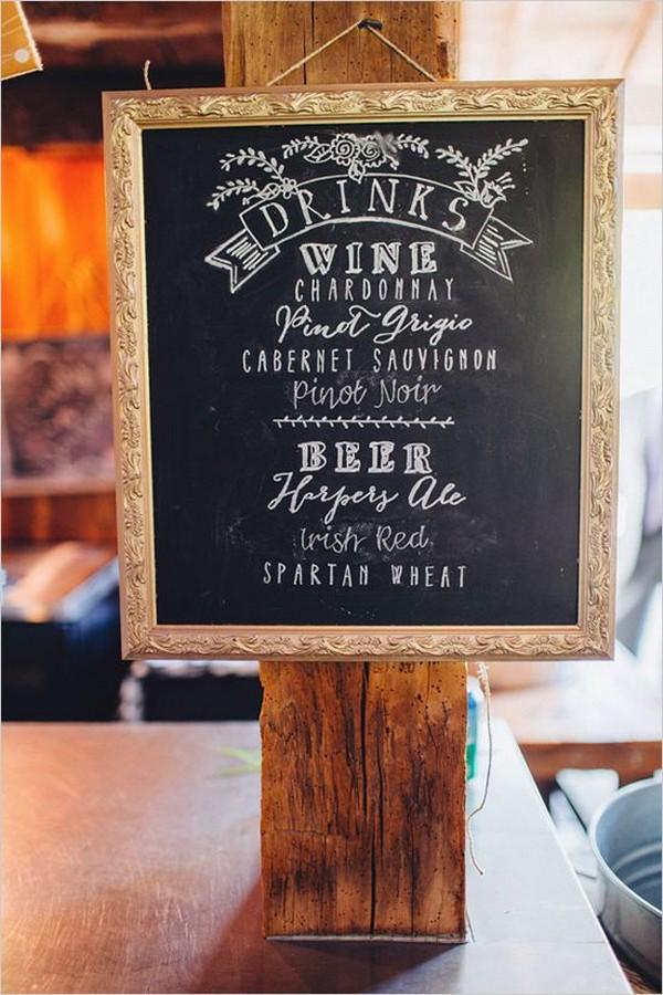 vintage chalkboard wedding drink station sign