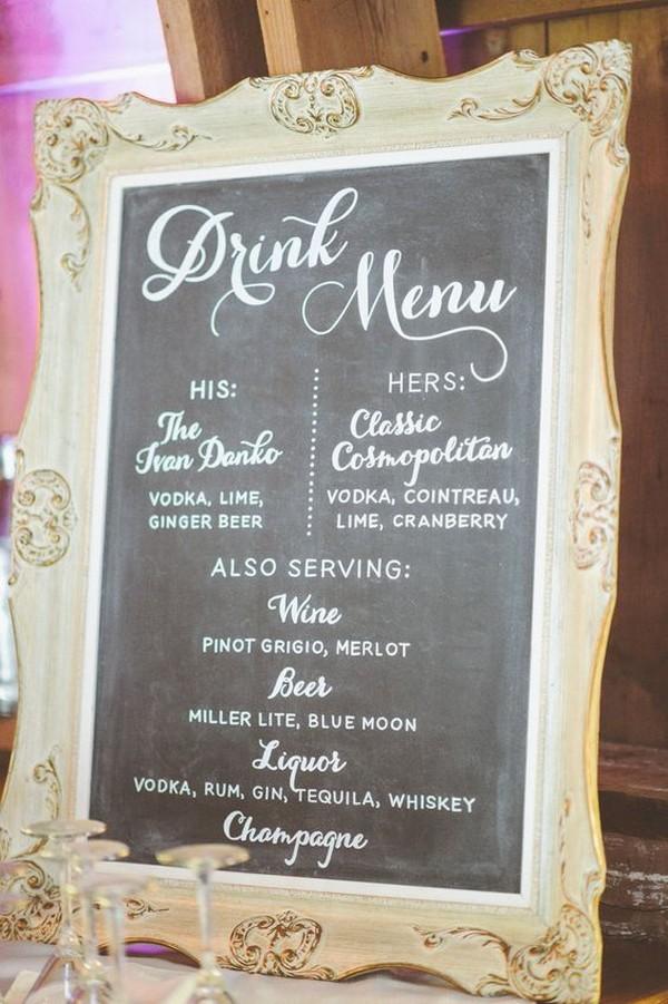 vintage frame inspired wedding drink station sign