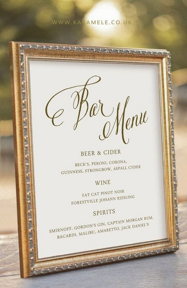 vintage frame wedding bar menu ideas