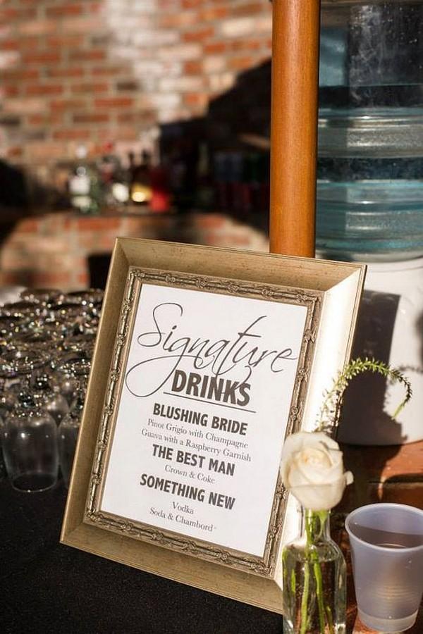 vintage frame wedding signature drink sign