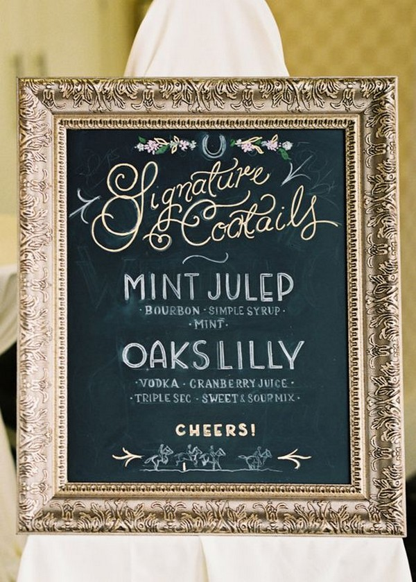 vintage gold and black wedding drink bar sign ideas