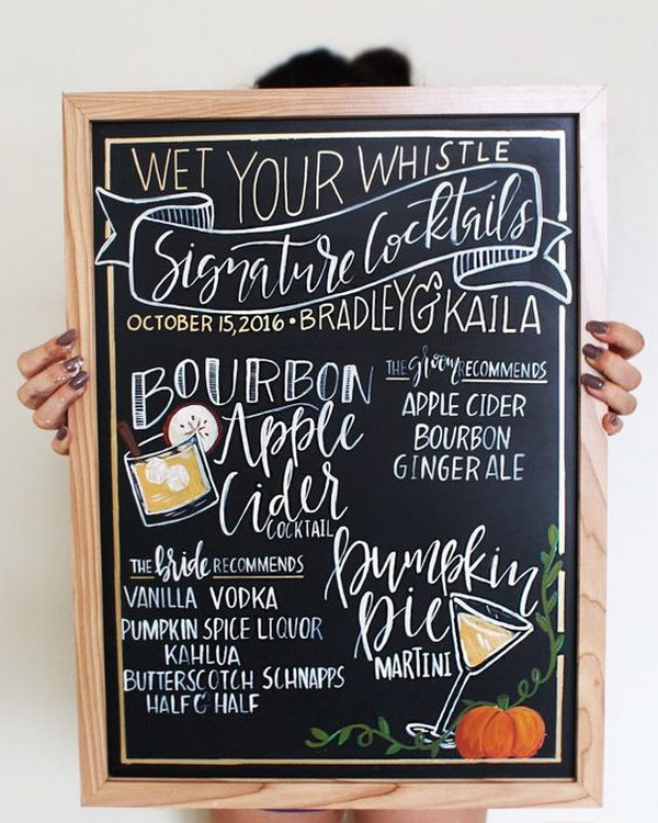 wedding drink bar menu sign ideas
