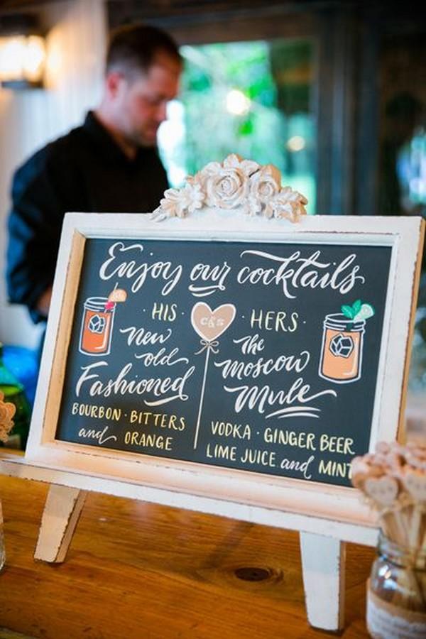 wedding drink station bar sign