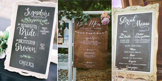 wedding drink station signs