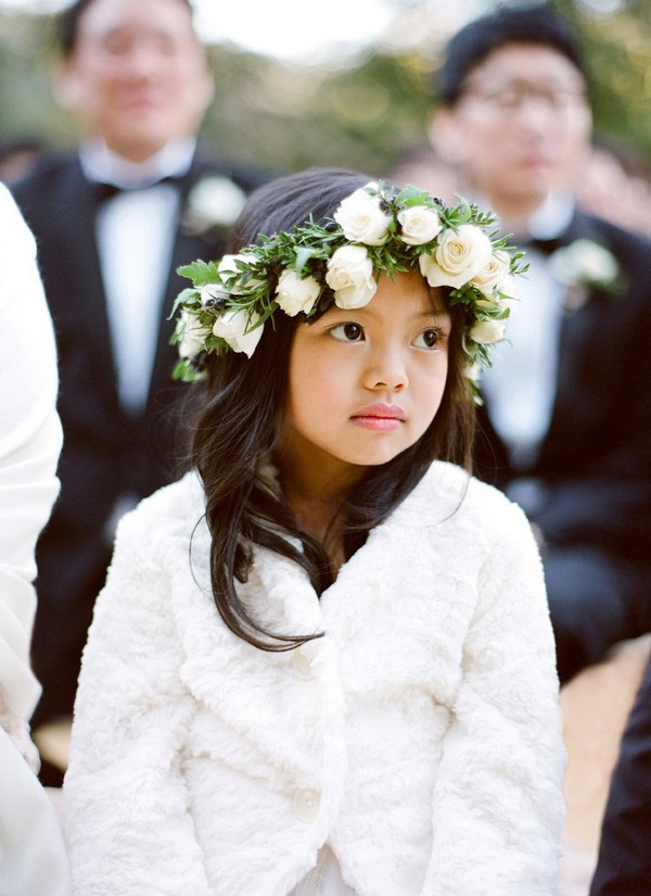 wedding flower girl hairstyle with floral crown