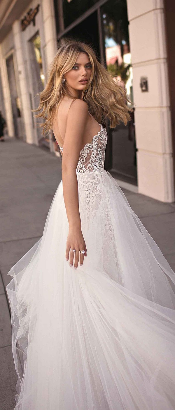 Berta by Muse Camila illusion v neck wedding dress 2019 collection back view