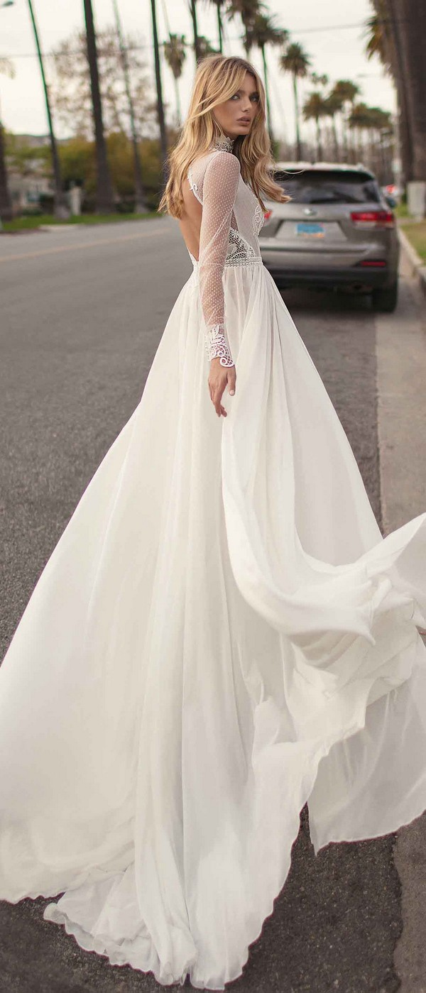 Berta by Muse Camille high neck wedding dress with long sleeves 2019 collection