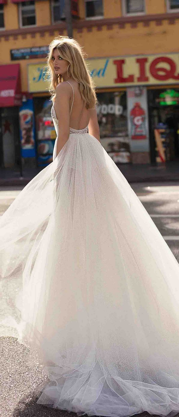 Berta by Muse Carly v neck a line wedding dress with open back