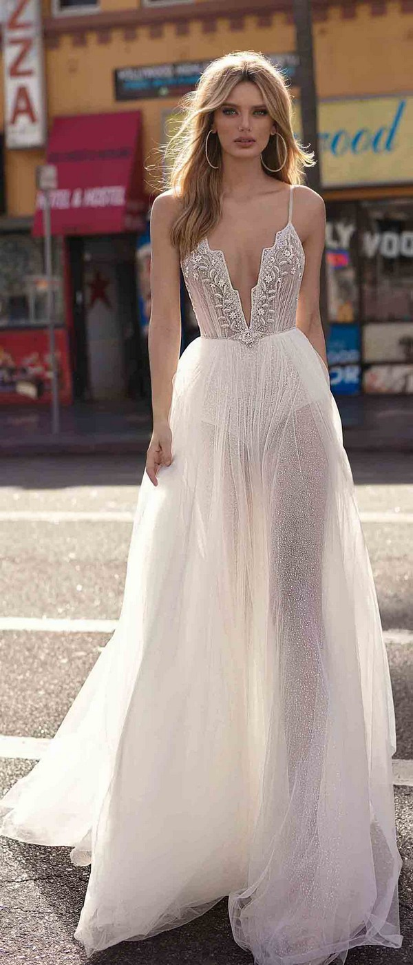 Berta by Muse Carly v neck a line wedding dress