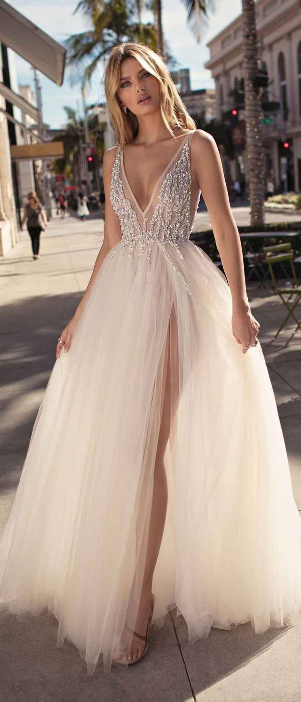 Berta by Muse Carmen v neck beaded wedding dress