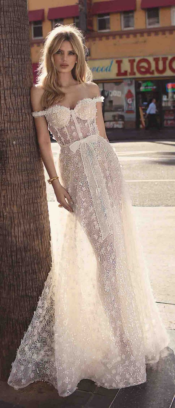 Berta by Muse Catherine off the shouler floral wedding dress