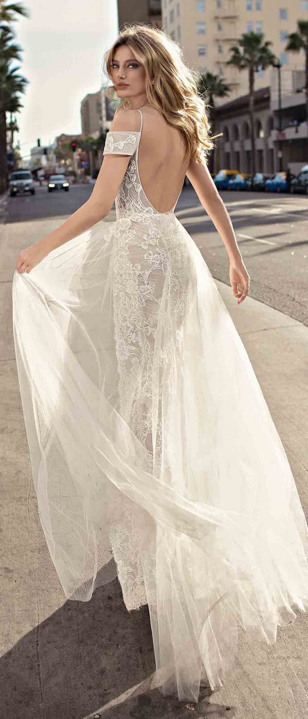 Berta by Muse Charlotte off the shoulder wedding dress back view 2019 collection