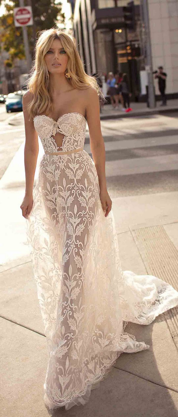 Berta by Muse Chloe sweet heart neckline floral lace wedding dress