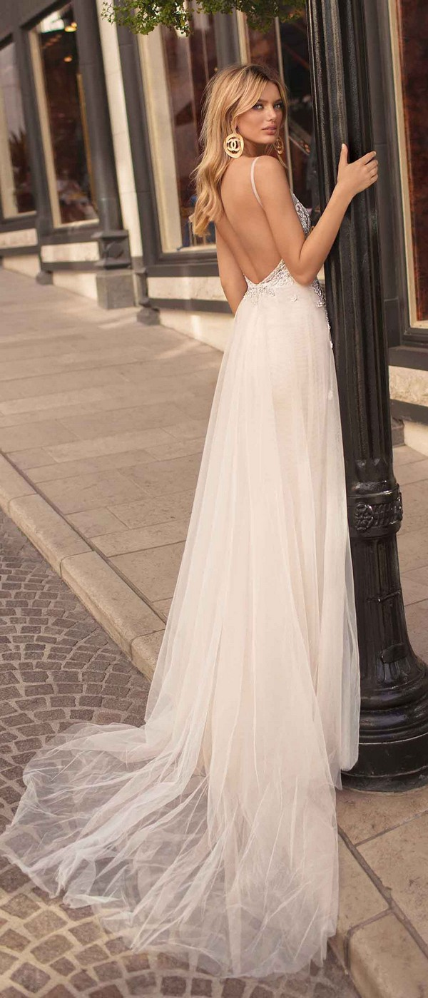 Berta by Muse Cindy v neck a line wedding dress with open back