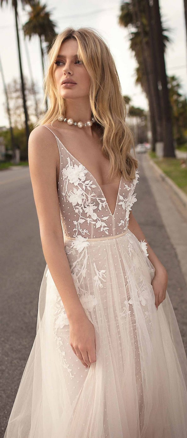 Berta by Muse Claire v neck a line wedding dress 2019 collection