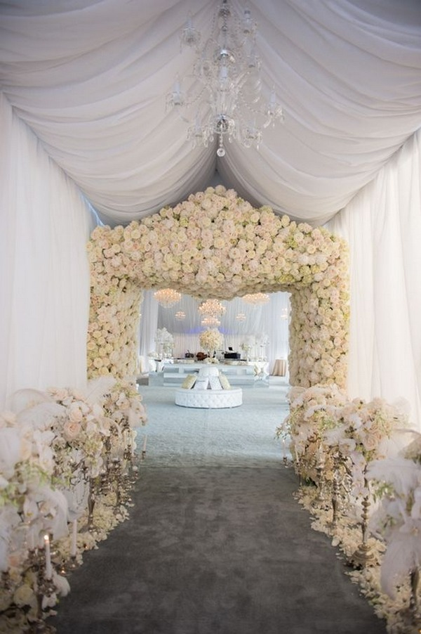 All White And Pink Roses Decorations For Wedding Reception Entrance