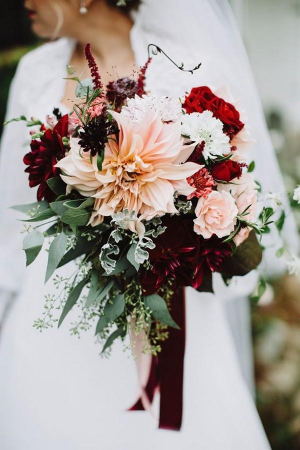 blush pink and burgundy fall wedding flowers
