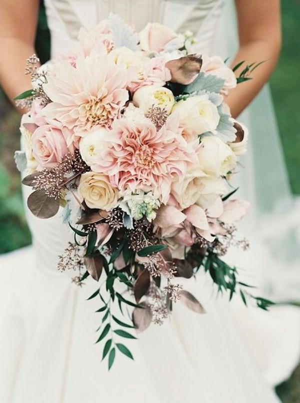 blush pink fall wedding bouquet