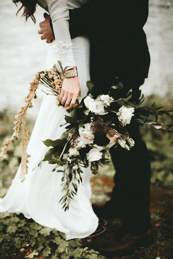 boho chic greenery fall wedding bouquet