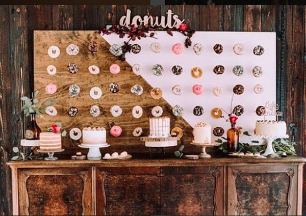 boho rustic wedding donuts wall decoration ideas