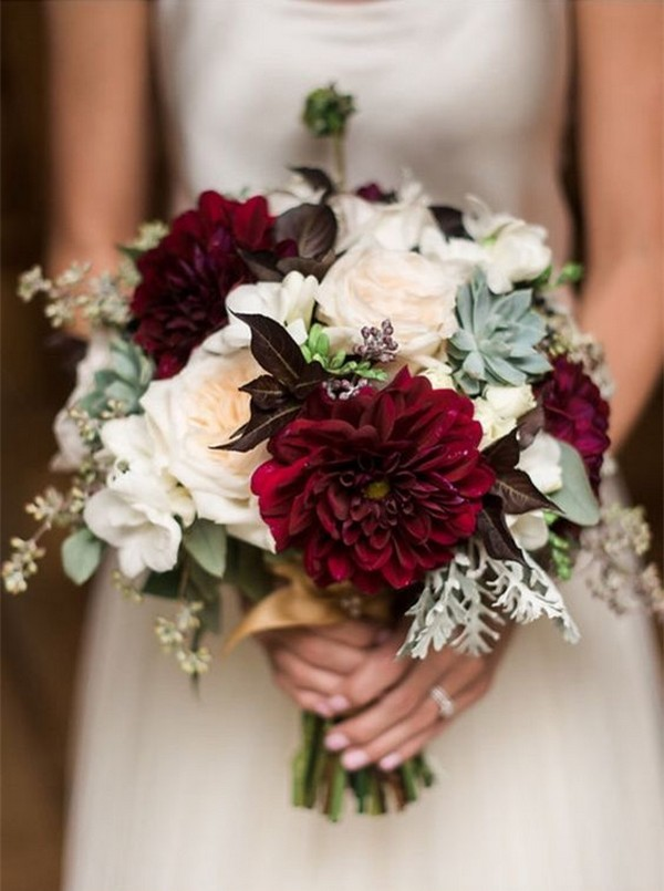 Fall Wedding Bouquets.Burgundy Fall Wedding Bouquet With Succulents Emmalovesweddings