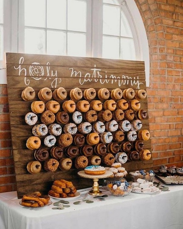 chic rustic wedding donuts wall ideas