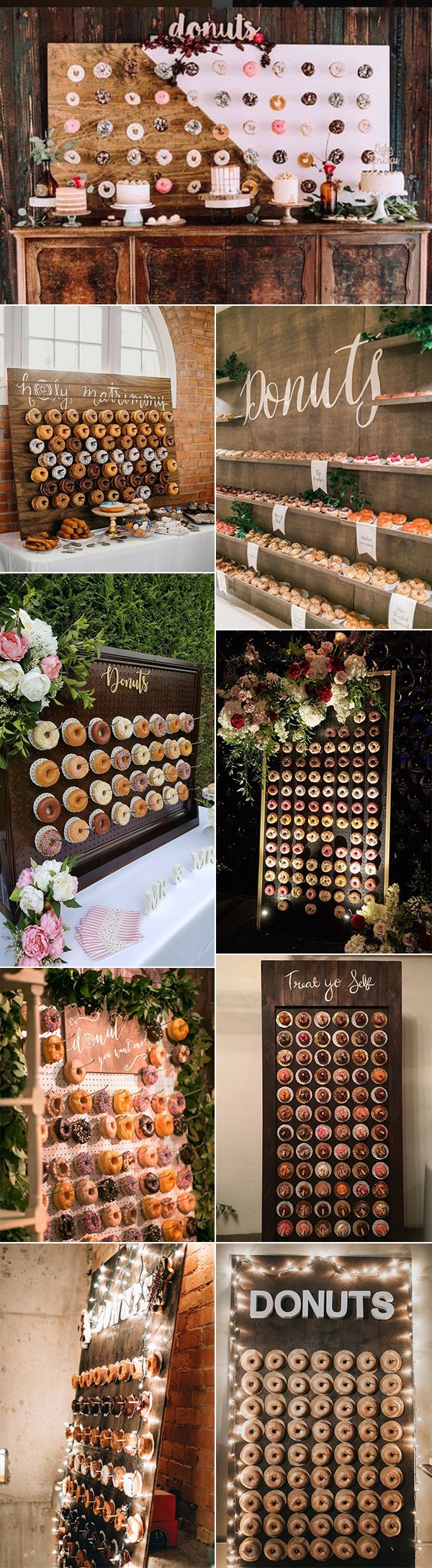 chic rustic wedding donuts walls decoration ideas