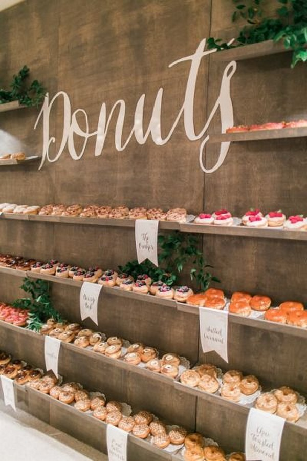 chic wedding donuts wall dessert station ideas