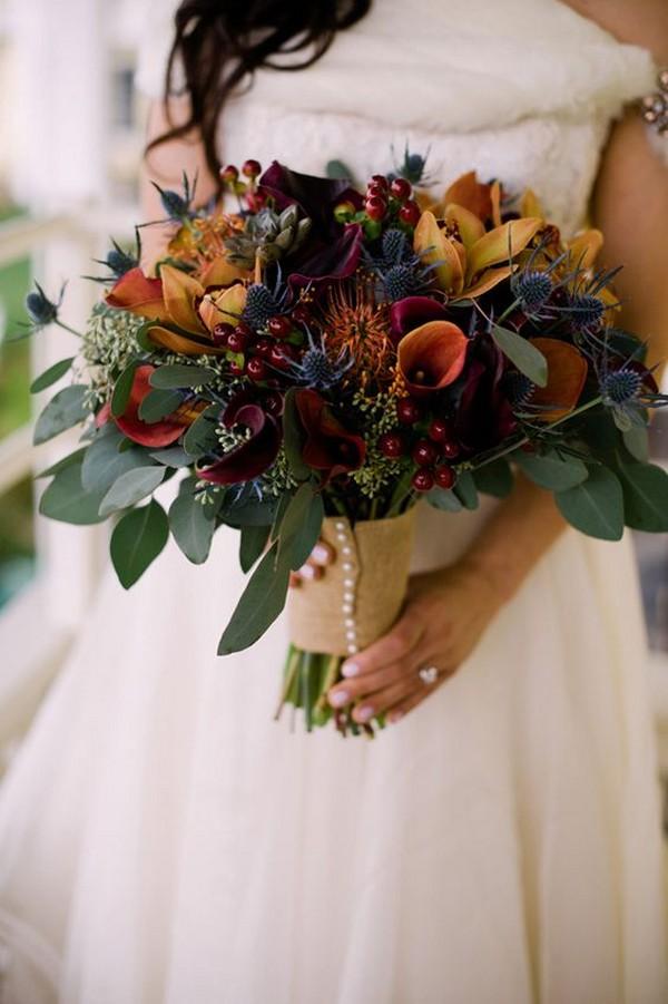 dark hues fall wedding bouquet