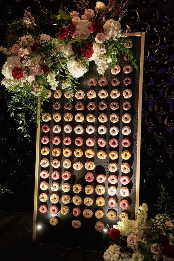 donuts wall decorated with floral wedding ideas