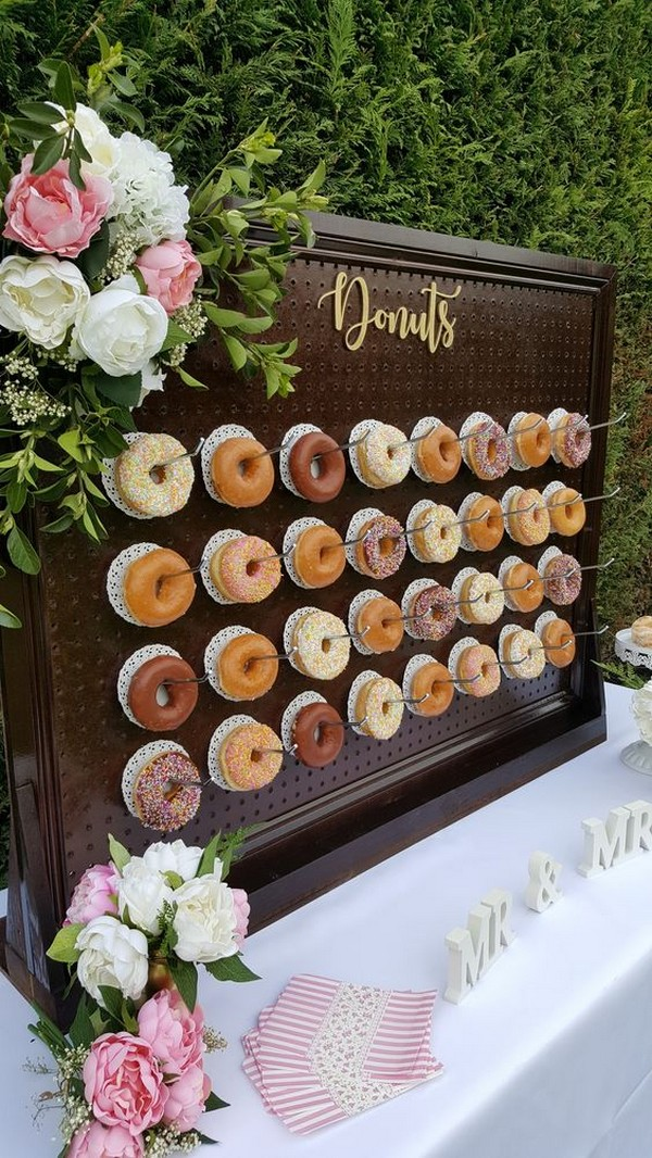 donuts wall for outdoor backyard wedding ideas