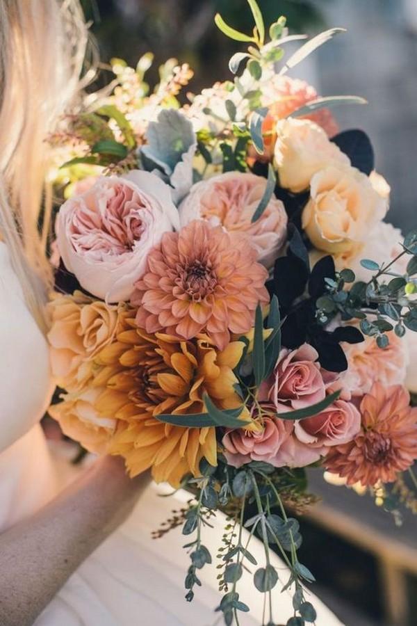 dusty rose and orange fall wedding bouquet