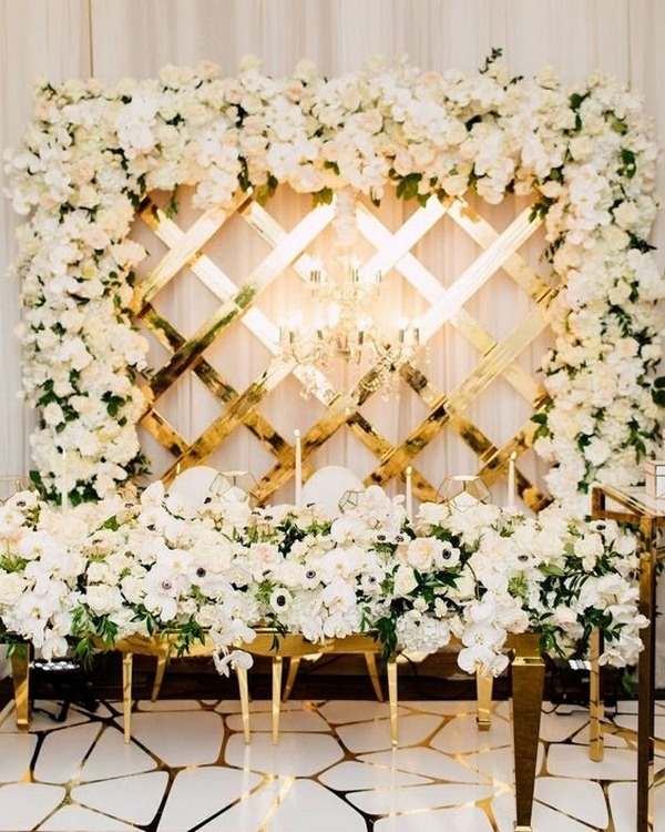 elegant wedding reception entrance decorations with flowers