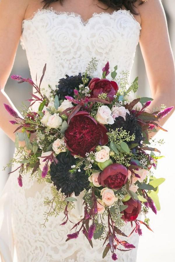 fall color hues wedding bouquet ideas
