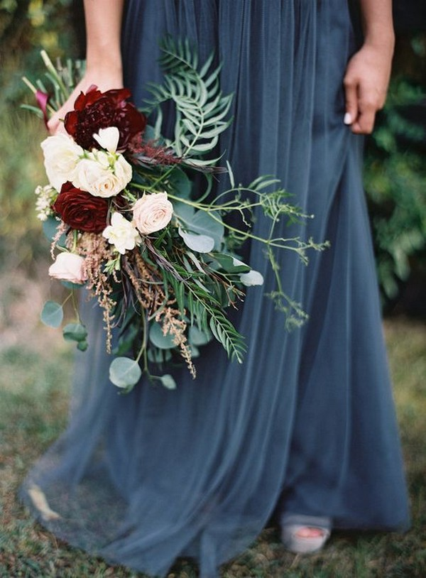 fall wedding bouquet ideas with marsala color
