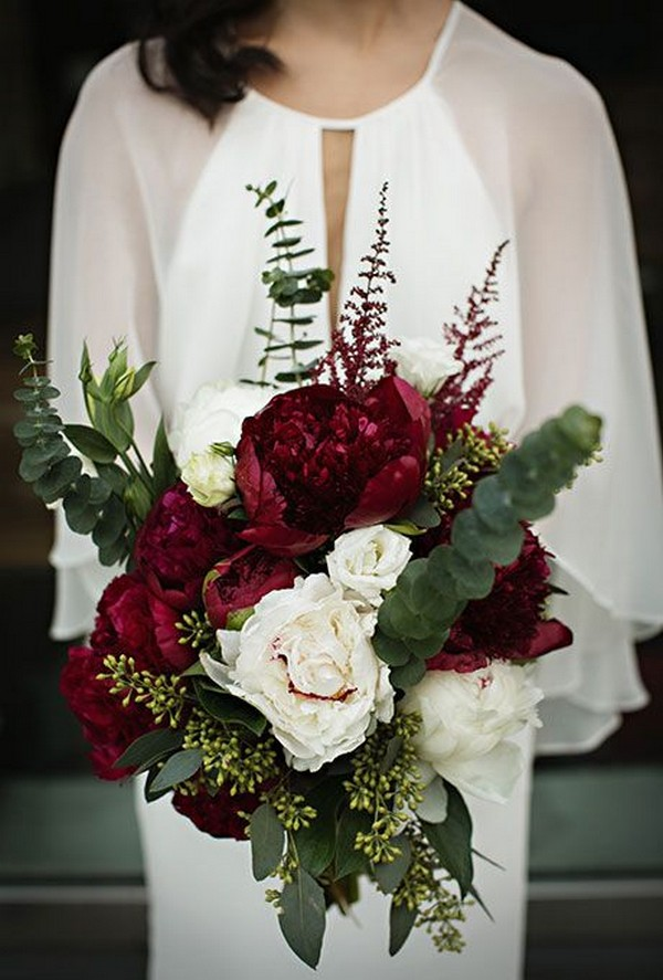 fall wedding bouquet with burgundy and greenery
