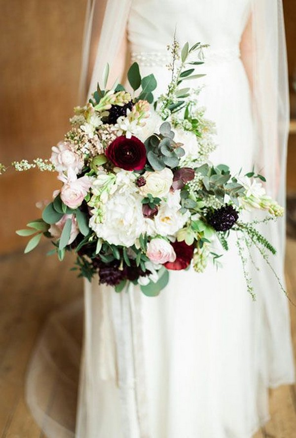 greenery and burgundy fall wedding bouquet for 2018