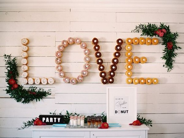 love letters donuts wall wedding ideas