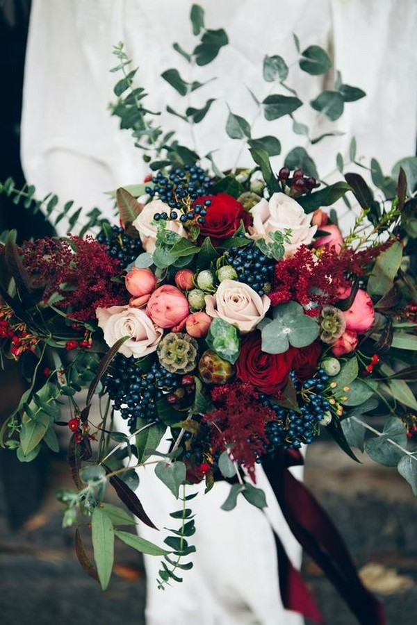 marsala and greenery fall wedding bouquets