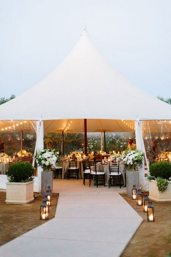 tented wedding reception entrance decoration ideas