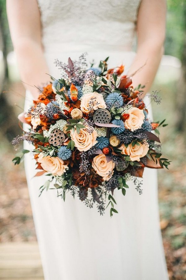 unique fall wedding bouquet with a touch of blue