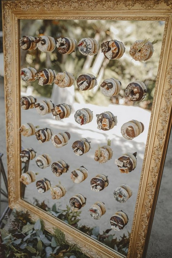 vintage mirror frame wedding donuts wall