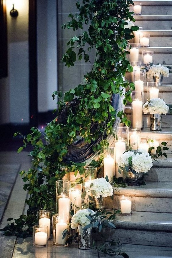 wedding entrance aisle decorations with candle lights