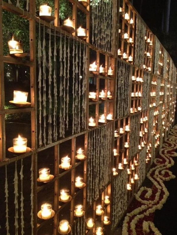 wedding entrance decoration ideas with candle lights