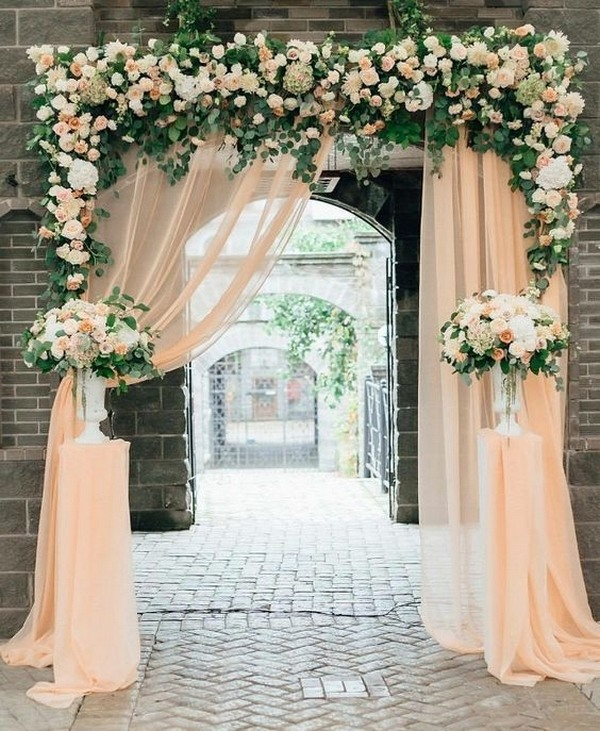 Top 20 wedding entrance decoration ideas for your reception wedding entrance decorations with floral junglespirit Choice Image