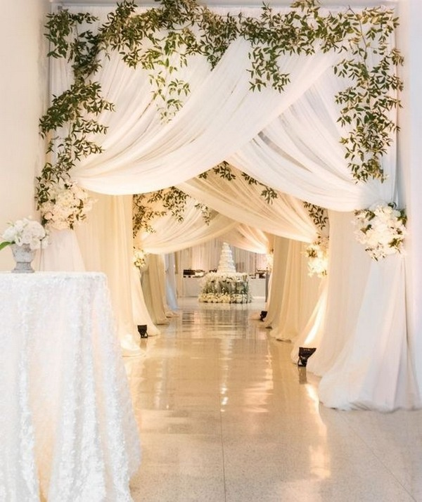 Top 20 wedding entrance decoration ideas for your reception white and greenery wedding reception entrance decoration ideas junglespirit Choice Image